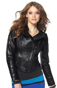 černá-kožená bunda-dámská