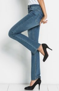 Modré džíny s rovnými nohavicemi
