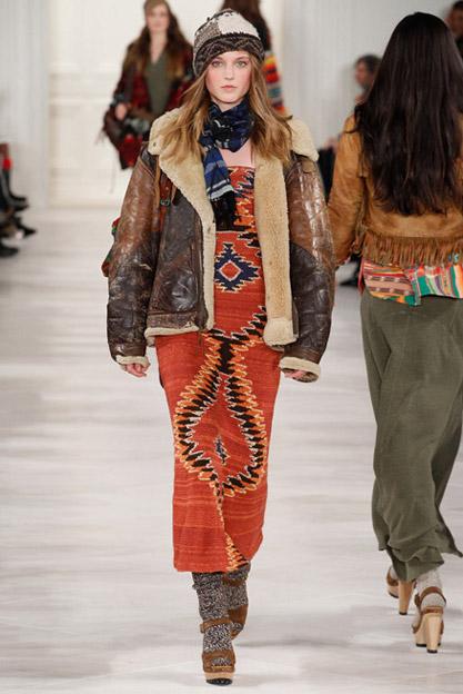 kožená bunda s kožíškem ralph lauren podzim-zima 2016 boho styl